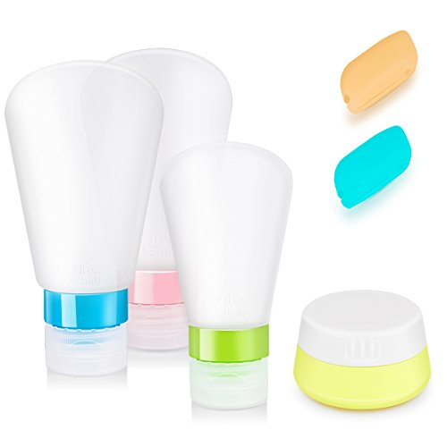 GiftedMary Travel Bottles, Leak Proof Silicone Refillable 3oz and 2oz Toiletry Squeeze Containers Sets with 20ml Cream Jars 2pcs Toothbrush Covers for Shampoo Lotion Soap Conditioner TSA ()
