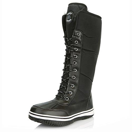 (DailyShoes Women's Knee High 2-Tone Lace Up Décor Zipper Cowboy Warm Fur Water Resistant Eskimo Snow Boots, 8.5)