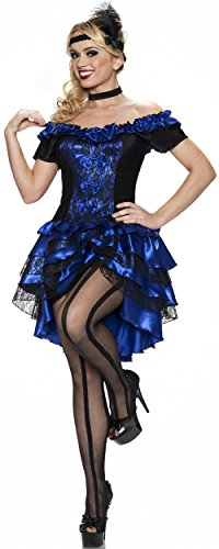 Western Style Dance Costumes (Delicious Plus-Size Dance Hall Queen Costume, Sapphire, 1X/2X)