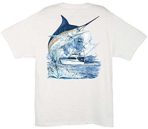 Guy Harvey Marlin Boat T-Shirt WHITE 3X - T-shirt White Mart