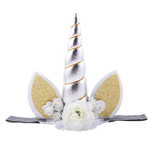 Baby Unicorn Headdress CaJaCa Babys Rose Flower Headband,Cosplay Costume Makeup Party