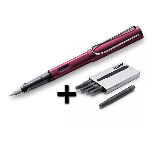 (Lamy AL-Star Fountain Pen (29F) Black Purple + 5 Black Ink Cartridges)