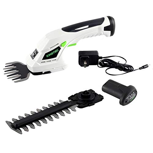 KINGTEC Cordless 2-in-1 Grass Shear and Hedge Trimmer with 2Pcs 8V Max Rechargeable Lithium-Ion Batteries and Charger