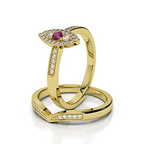 Or jaune 18carats 0,10ct G-H/VS Certifié Coupe ronde Rubis et diamant de mariage Bague de fiançailles et ensemble de Agdr-1050