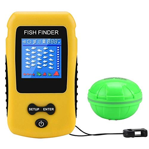 Adkwse Portable Fish Finder Wireless Transducer Fishfinder for Boat, Kayak Ice Fishing, Shore Fishing and Sea Fashing