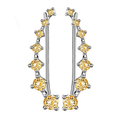 Earrings Yellow Cuff - Sterling Silver Sweep up Ear Pin Crawler Cuff Wrap Climber Earrings with 7 CZ Stones (Yellow)