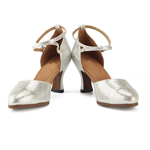 Dance Pumps Womens Miyoopark Strap Comfortable Ankle Silver 7cm Latin Evening Shoes Heel Leather YfqRUw4