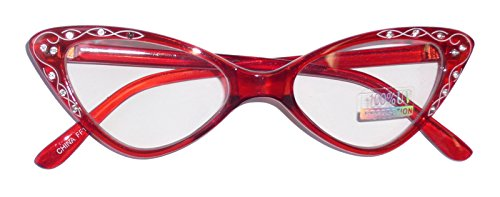 1850T/38 (Rd) Rhinestone Retro Cat Glasses New - New Red Rhinestone