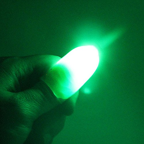 MeterMall 1 Pair Creative Magic Thumb Tip LED Light Magic Trick Finger Lights for Dance Party Props - Blue/Green/Red Light Green ()