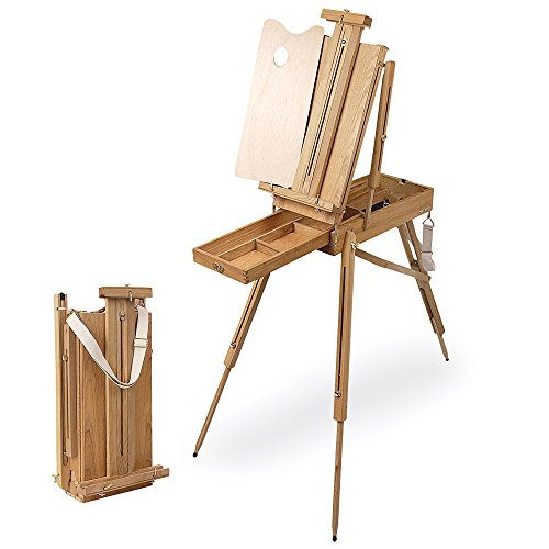 (Creative Mark Cezanne Half Box French Artist Easel, with Sketch Box Drawer, Canvas Carrying Clips, Brass Plated Hardware Perfect for Plein Air Painting Drawing -Oiled Stained Elm)