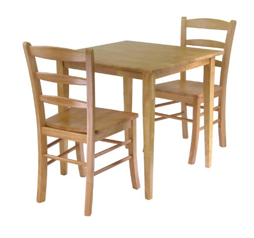 3 Piece Dining Set (Winsome Groveland 3-Piece Wood Dining Set, Light Oak Finish)