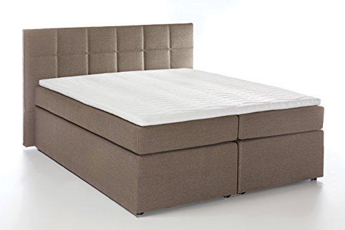 Möbelfreude Boxspringbett Bea, gesteppt, 7-Zonen Taschenfederkern, Visco Topper Polsterbett, Beige/Grau H2/H3, 160x200cm