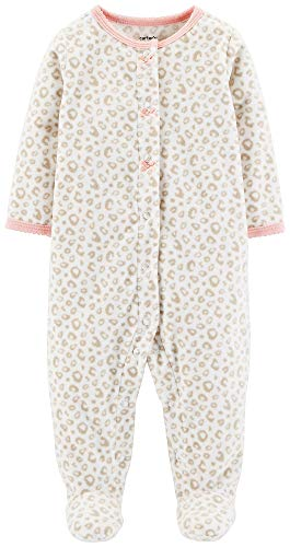 Carter's Baby Girls' Snowman Fleece Pajama (Ivory/Leopard, 6 Months)