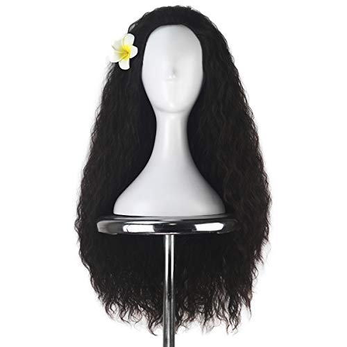Unisex Women 80cm Long Curly Dark Brown Hair Halloween Cosplay Costume Wig for Girl ()