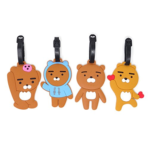 Honbay 4PCS Super Cute Cartoon Brown Bear Luggage Tags for Travel or Business Trip ()