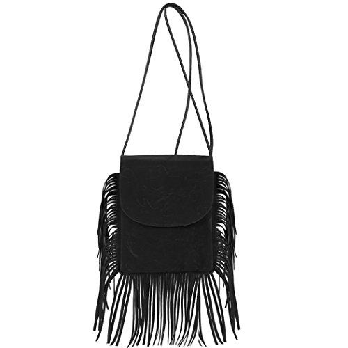 Bolsa - All4you Moda chicas mujeres pequeño bolso bandolera con Tassel(Grey) el mensaje Negro