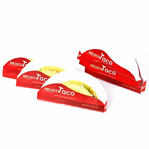 Disposable Taco Holder Taco with Recipes E-BOOK - Perfect For Party and Take Out Restaurant - Durable Paperboard Taco Rack -50 (Disposable Taco Holder)