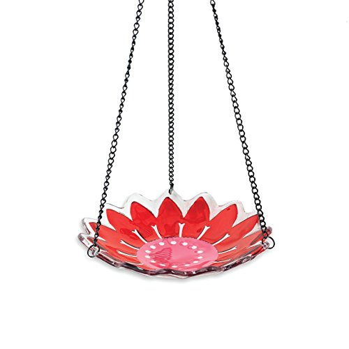 Silvestri Glass and Iron Hanging Bird Feeder, 17-Inch, Pink by Silvestri