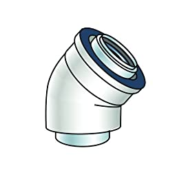 Rinnai 224077PP 45 Degree Condensing Vent Pipe Elbow, 2-Piece by Rinnai 1 Rinnai 224077PP 45 Degree Condensing Vent Pipe Elbow, 2-Piece Small White