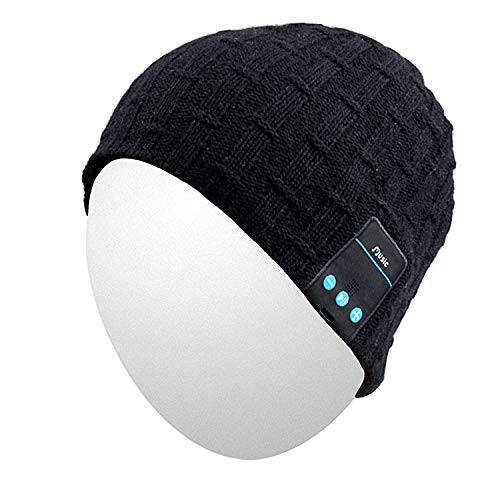 Hat Electronic - Qshell Washable Bluetooth Beanie Warm Soft Winter Knitted Trendy Short Skully Hat Cap with Wireless Headphone Headset Earphone Mic Hands Free for Excrise Gym Sports Fitness Running Skiing - Black