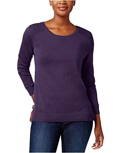 Karen Scott Women's Side-Slit Cotton Sweater (Purple Dynasty, X-Large) from Karen Scott
