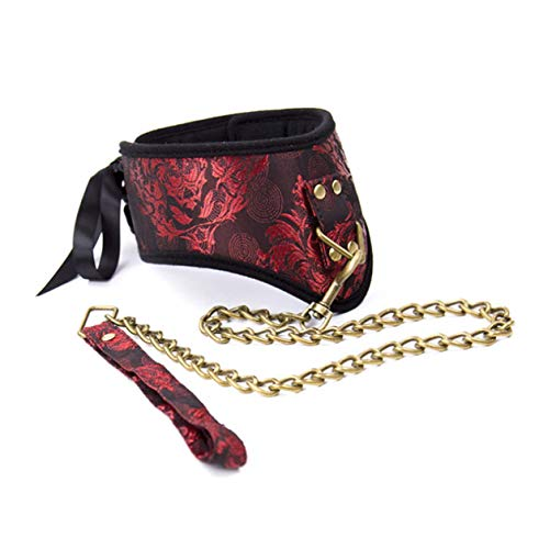 Leather women's jewelry dragon and phoenix tie pin buckle iron chain decorative traction collar ()