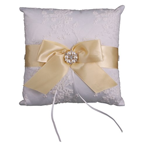 Gold Ring Bearer Pillow - MonkeyJack Bridal Shower Ring Bearer Pillow Cushion Rhinestone Floral Bow 20x20cm - Gold, 20x20