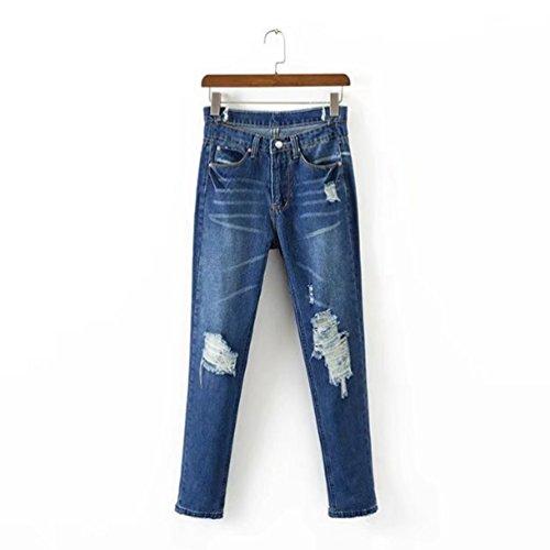 WanYang Bleu Trous Pantalons Fonc Stretch Femmes Pantalon Collants Pantalon Leggings Denim Crayon Jeans Dchirs TOUWUaAq