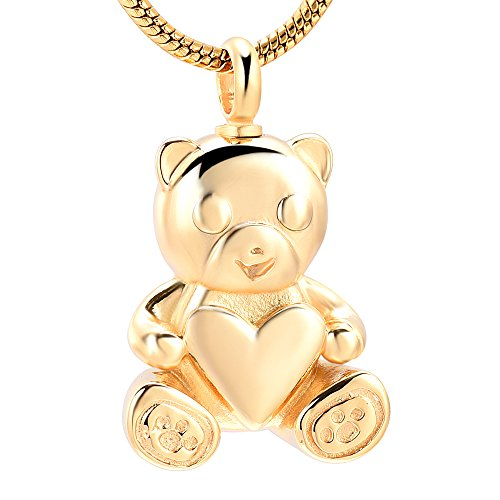 Stainless Steel Teddy Bear Pet Urn Ashes Pendant Memorial Ash Keepsake Cremation Jewelry Necklace (Gold)