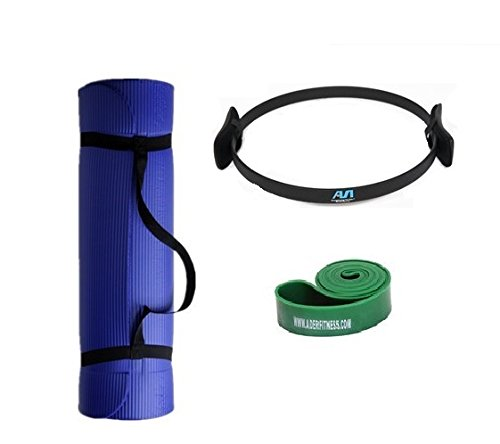 Ader Sports Pilates Kit -1/2'' Thick Exercise Mat, 1 3/4'' Resistance Band, Pilates Ring by Ader