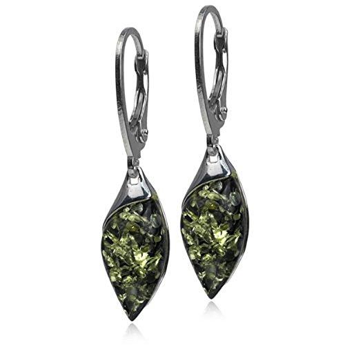 Green Amber Sterling Silver Marquise Leverback Earrings - Sterling Silver Snake Oval Bracelets