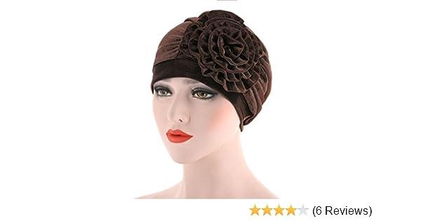 f3ca2870ceb Amazon.com  YJYdada Women India Hat Muslim Ruffle Cancer Hat Pearl Beanie  Scarf Turban Head Wrap Cap (Coffee)  Health   Personal Care