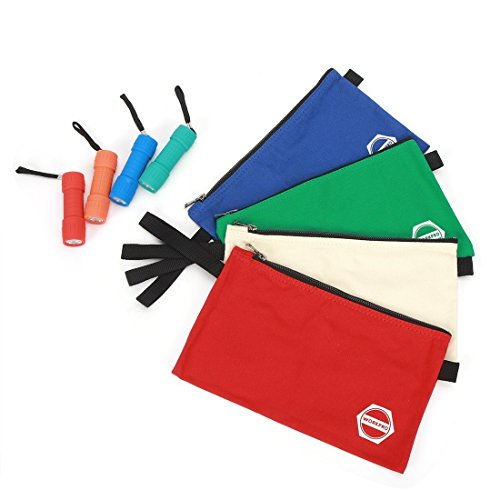 WORKPRO Utility Canvas Pouch, 4-Pack 16oz Zipper Tool Organize Bags in Red, White, Green, Blue, with Bonus Flashlights