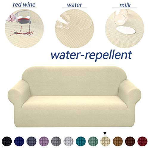 Granbest Premium Water Repellent Sofa Cover High Stretch Couch Slipcover Super Soft Fabric Couch Cover (Beige, XL Sofa)