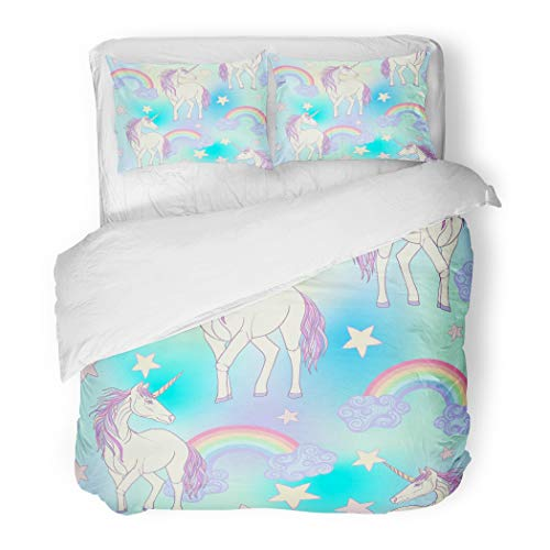 Emvency Bedding Duvet Cover Set Pattern Unicorn Color Pink Purple Mane and Rainbow Stars Stock Line Kawaii 3 Piece Set with 2 Pillow Shams Queen 90