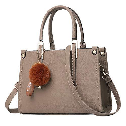 Sale Women Hairball Ornaments Tote Solid Sequins Handbag Purse Messenger Shoulder Hobo Top-Handle tote Bag for women Satchels Khaki