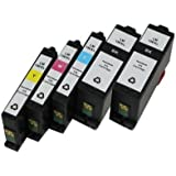 Inkcool Compatible Set of 5 Pack Lexmark 150XL 150 XL Black Cyan Magenta Yellow Ink Cartridge for Lexmark Pro715, Pro915, S315, S415, S515