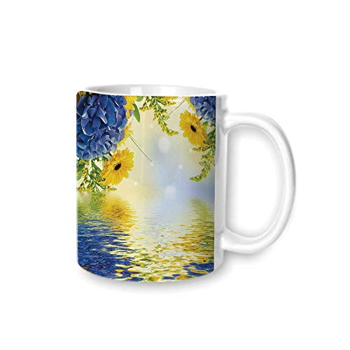 Yellow and Blue Practical Mark Cup,Romantic Bouquet of Hydrangeas and Asters on Water Background For Hold Water,Z(diameter)8.2G9.5 ()