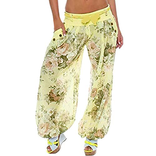 Clearance ZEFOTIM Women Plus Size Print Loose Casual Elastic Pants Cropped Full Length Trousers (3XL,B-Yellow)