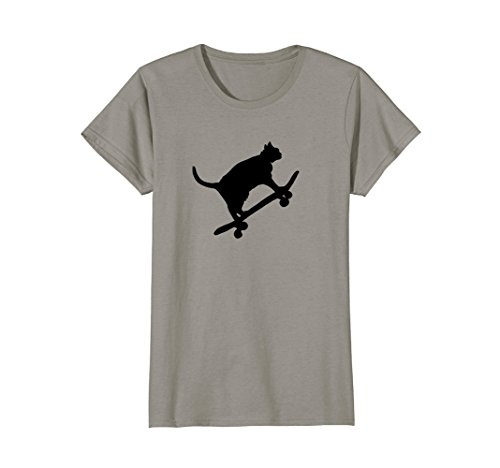 Womens Hilarious Black Cat On Skateboard T-Shirt Drawing Sports Art Small Slate