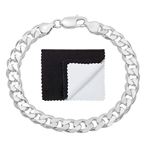Boy's 8.5mm Thick .925 Sterling Silver Italian Crafted Beveled Cuban Curb Link Bracelet, 7 inches (Bracelet Chain Curb Beveled)