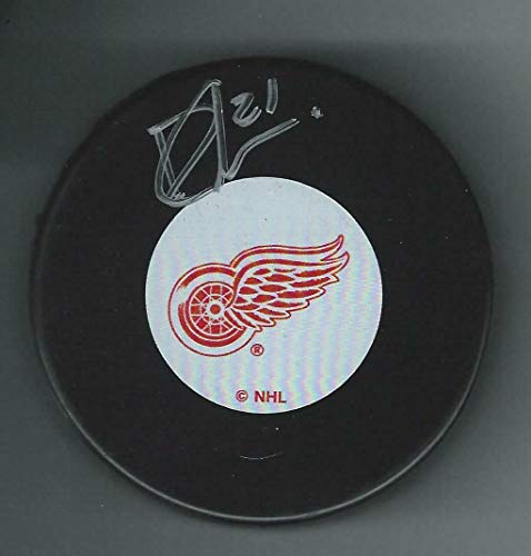 Dennis Cholowski Signed Detroit Red Wings Puck - Autographed NHL Pucks