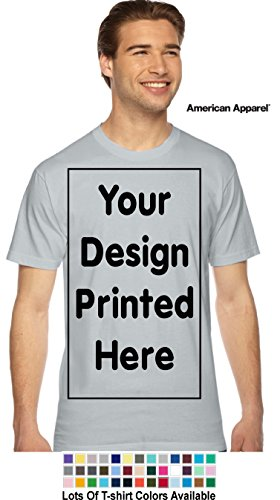 Custom T-Shirt. Personalized Tee. Add Your Design Logo Image Picture (2XL, New Silver - American Apparel)