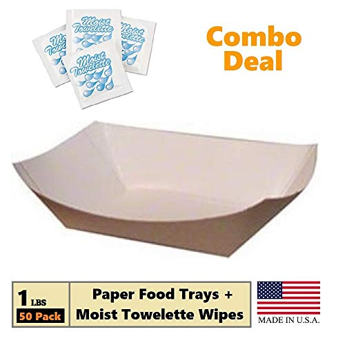 Paper Food Tray, 1 lb Kraft Nacho, Fries, Hot Corn Dogs, Take Out Boat Baskets Holder Container: Grease Resistant Cardboard Carry Tray Combo Deal 50 Trays + 25 Fresh Nap Moist Towelettes
