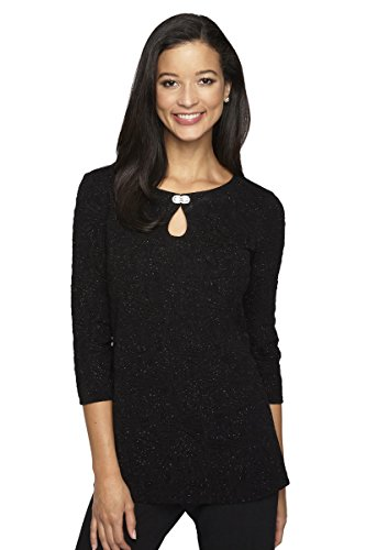 Alex Eveninngs Women's Blouse with Embellished Keyhole Cutout S BLACK by Alex Eveninngs