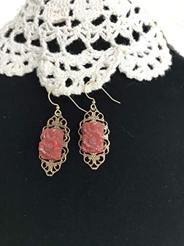 Carnelian Glass Floral Earrings