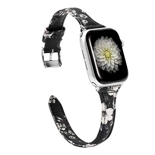 Wearlizer Slim Black White Floral Leather Compatible with Apple Watch Band 42mm 44mm Womens iWatch Sports Straps Wristband Replacement Beauty Bracelet(Metal Silver Clasp) Series 4 3 2 1 Edition