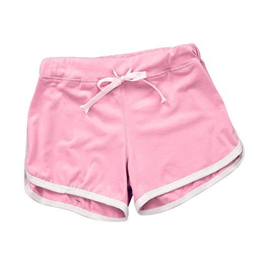 Shorts for Women High Waisted Summer Pants Teen Girls Sport Shorts Gym Workout Waistband Skinny Yoga Elastic Shorts Pink ()