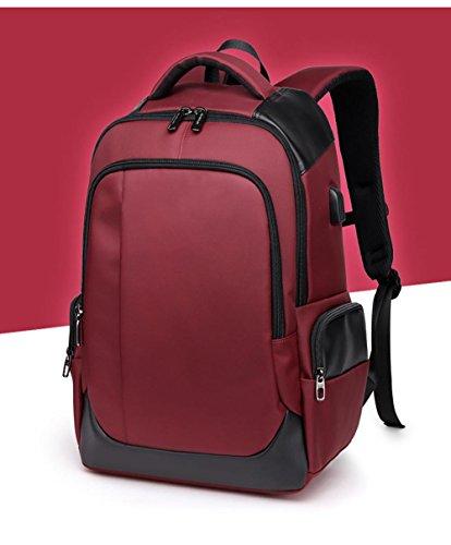 Laptop Rucksack Männer und koreanische beiläufige Breathable Wear Business USB Computer Reisetasche Red