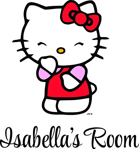 Hello Kitty Kittie Cat Asian Culture Cartoon Custom Names Personalized Name Girl Cats Anime Vinyl Wall Decals Decal Stickers for Girls Bedroom Kid Rooms Children Decor Size 20x18 inch